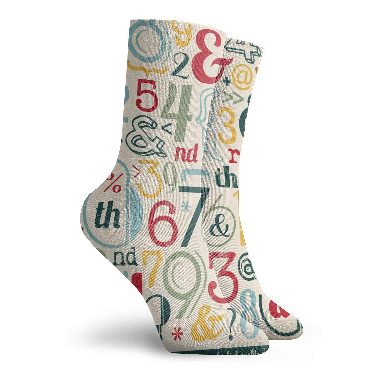 Numbers Unisex Funny Casual Crew Socks Athletic Socks For Boys Girls Kids Teenagers