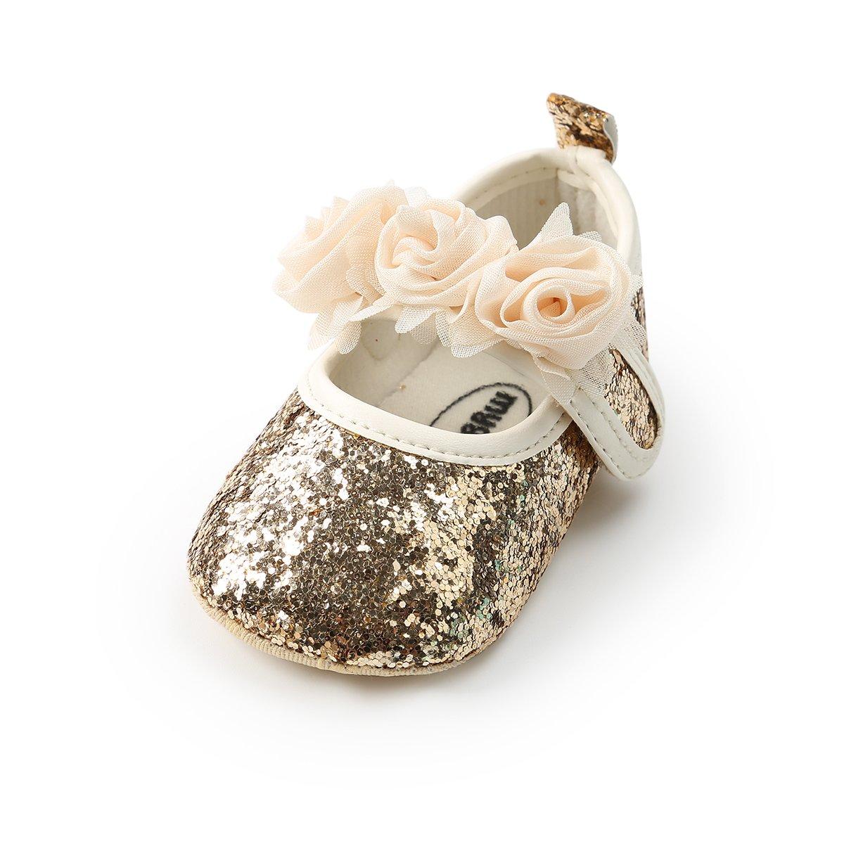 Baby Girl Moccasins Princess Sparkly Premium Lightweight Soft Sole Prewalker Toddler Shoes (L:12-18 Months, 1816-Gold)