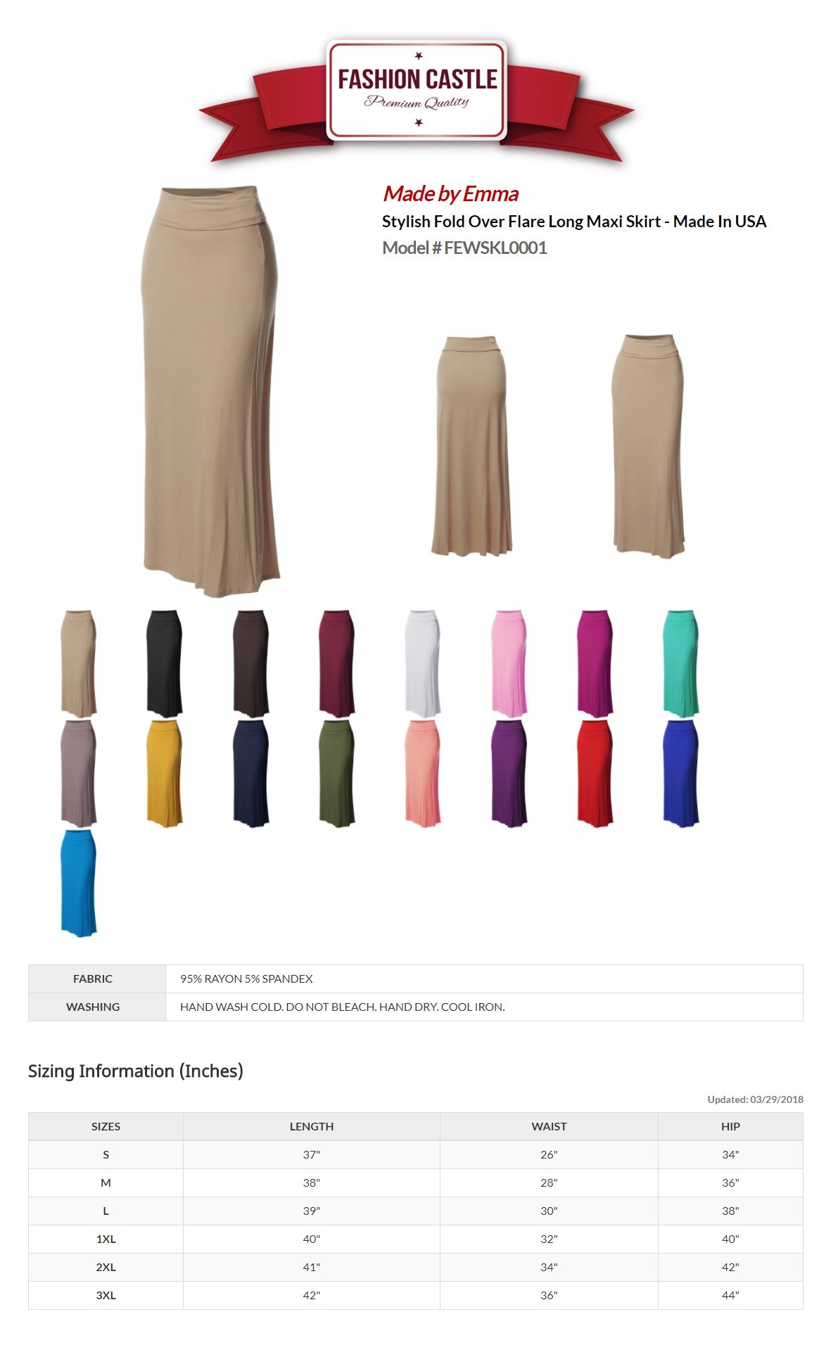 Stylish Fold Over Flare Long Maxi Skirt - Made in USA Beige M by Made by Emma (Image #5)