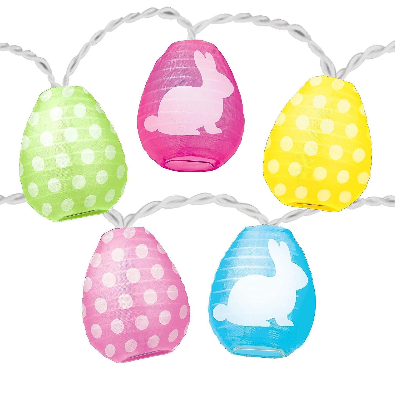 Amscan Easter Egg Lantern String Lights, Easter Party Decor, 10 Lights, 11