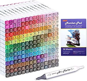 Shuttle Art 205 Colors Dual Tip Alcohol Art Markers, 204 Colors Permanent Marker Plus 1 Blender 1 Marker Pad 1 Case and Color Chart for Kids Adult Artist Drawing Coloring Books Sketching Card Making