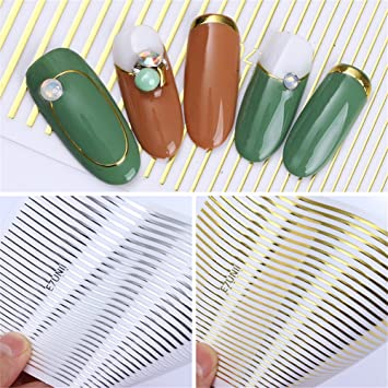 NICOLE DIARY 2 Sheets Silber Gold Metall 3D Nail Sticker Linien ...