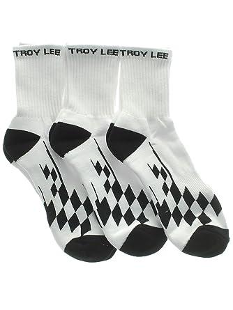 Troy Lee Designs White Crew Checker Pack of 3 Socks