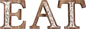 Wartter Farmhouse Kitchen EAT Sign, Wall Mounted Decorative Wooden Letters with Carved Patterns
