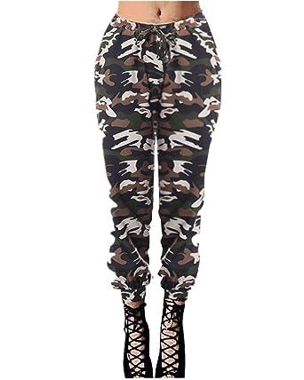 8a4b194a77afb StyleDome Femme Pantalon Cargaisons Militaires Long Crayon Taille Haute  Poche Elastique Casual Jambière Legging Camouflage Motif