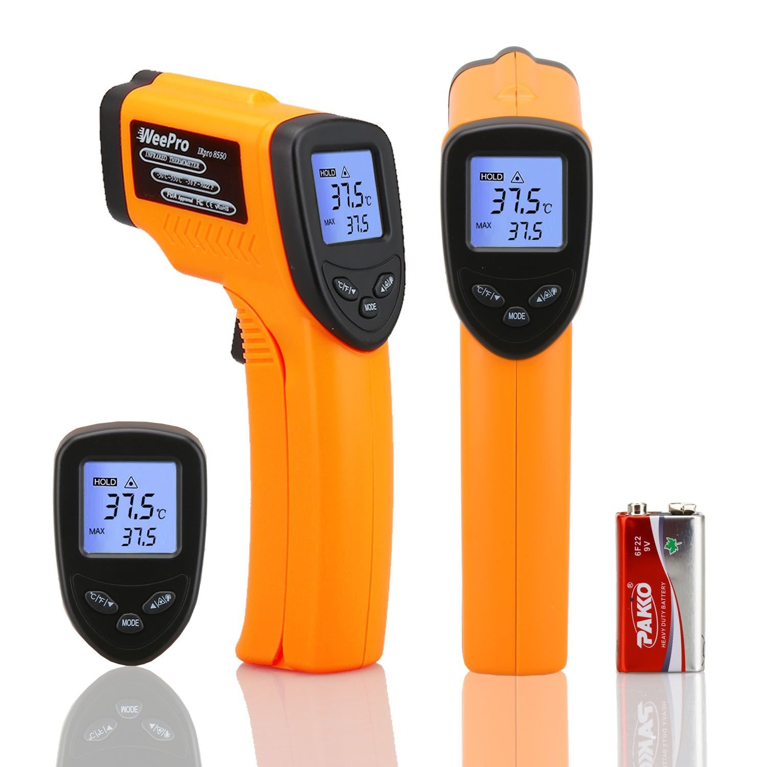 WeePro Digital Infrared Thermometer Non-contact Laser Temperature Gun -58℉ to 1022℉ (-50℃~550℃), Temp Controller Gauge for Kitchen, BBQ, Cooking, Industrial, Car, Auto Maintenance with Adjustable EMS