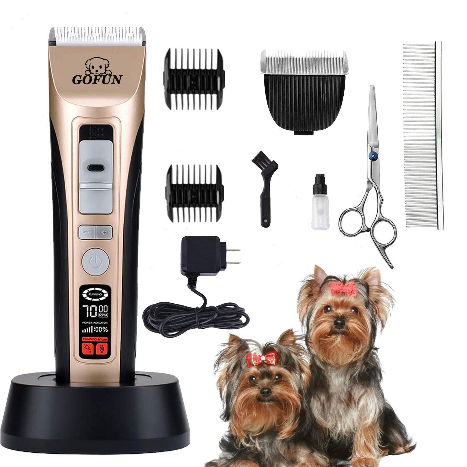 Pet Grooming Clippers - 5 Speed Cordless Low Noise Dog Shavers Clippers Powerful Dog Trimmer Rechargeable Pet Dog Hair Clippers Electric Hair Clippers Set for Dogs Cats,Pets, 2 Shaving Blades (Gold1)