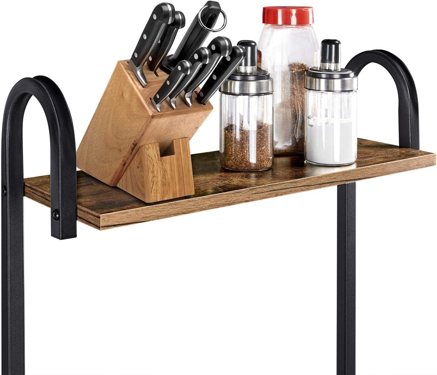 Yaheetech 35.5 inch Industrial Kitchen Baker's Rack, 4-Tier Microwave Oven Stand Workstation Organizer Shelf with Metal Frame, Utility Storage Shelf for Spices with 10 S-Hooks: Kitchen & Dining