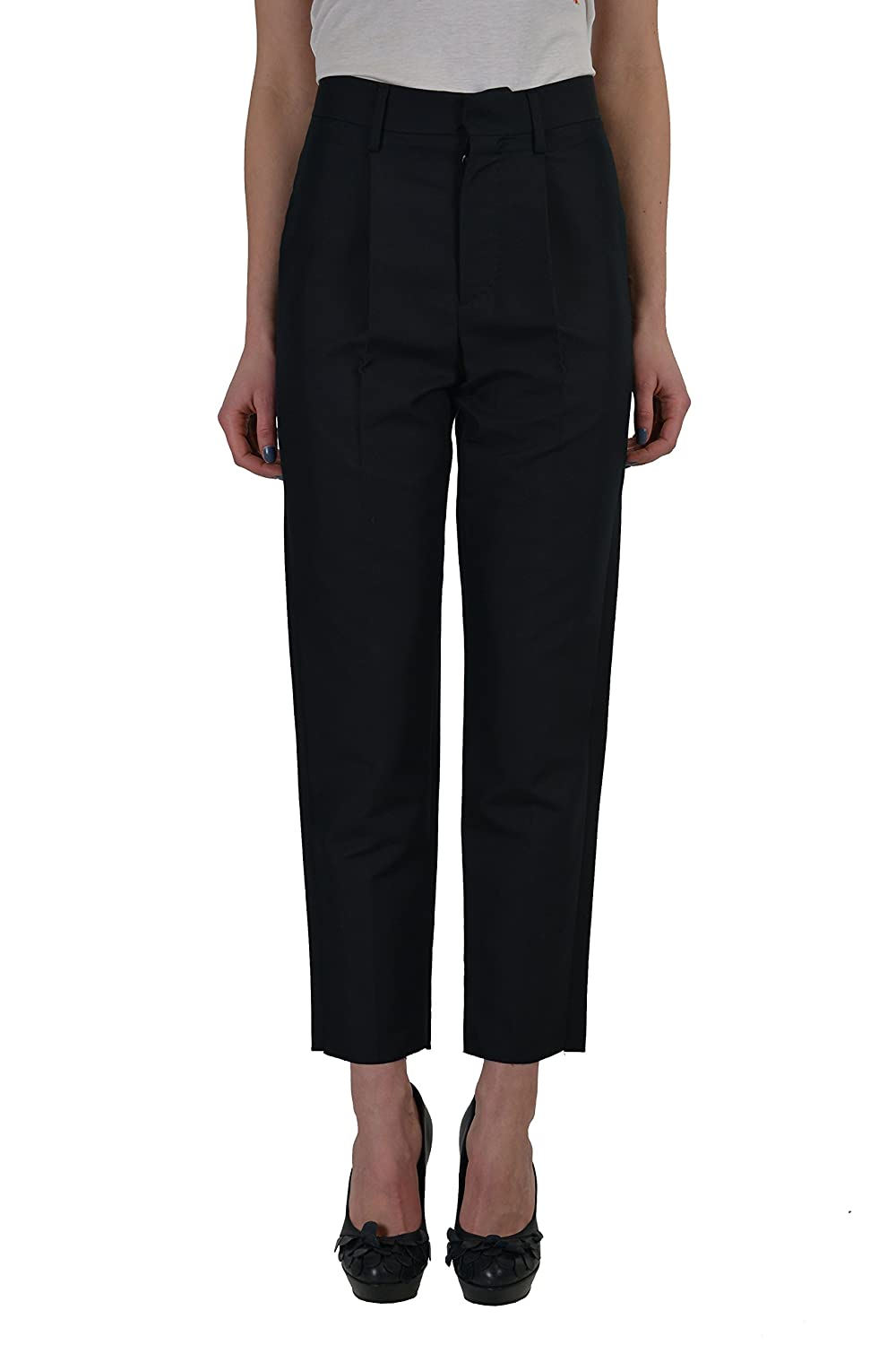 Dsquared2 Women's Black Silk Pleated Cropped Pants US 4 IT 40