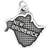 Sterling Silver Oxidized Map of New Brunswick Canada Charm