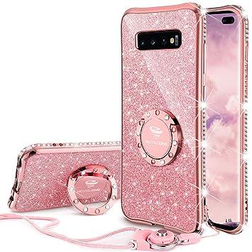 OCYCLONE Fundas para Samsung Galaxy S10 Plus,Purpurina Ultra Slim Soft TPU Fundas Movil con Brillo Glitter Dimante Anillo de Teléfono Protectora ...