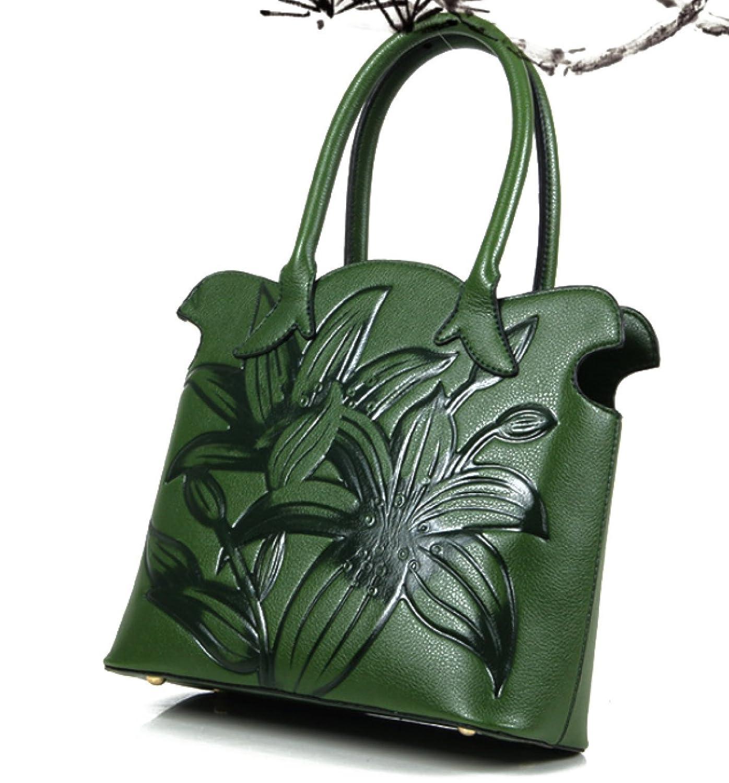 Damentasche Handtasche Umhängetasche Schultertasche PU neu Ethno-Stil Prägung,Red-OneSize ADEFG