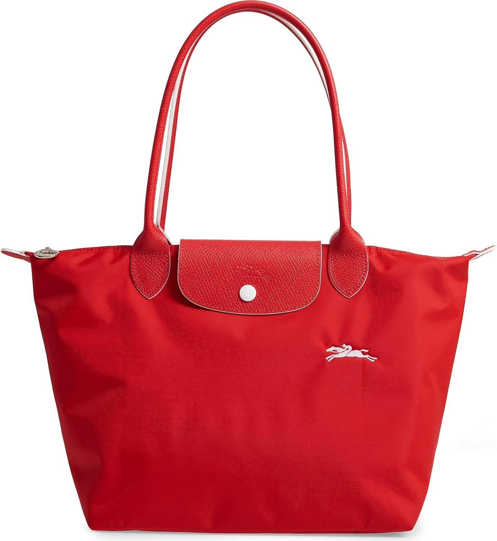 LongChamp Women s Le Pliage Club Medium Shoulder Tote Bag Vermillion Red