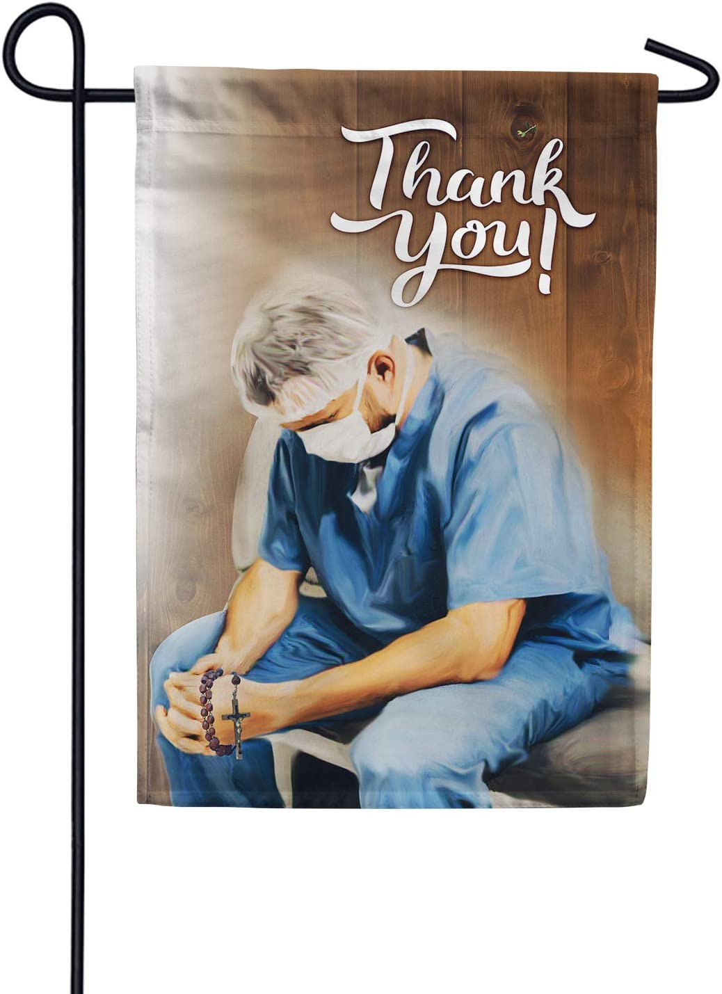 """America Forever Flags Double Sided Garden Flag - Praying for A Miracle - 12.5"""" x 18"""", Thank You Healthcare Workers, Fight Against Covid-19 Coronavirus Pandemic Flag, Yard Outdoor Decor Flags"""