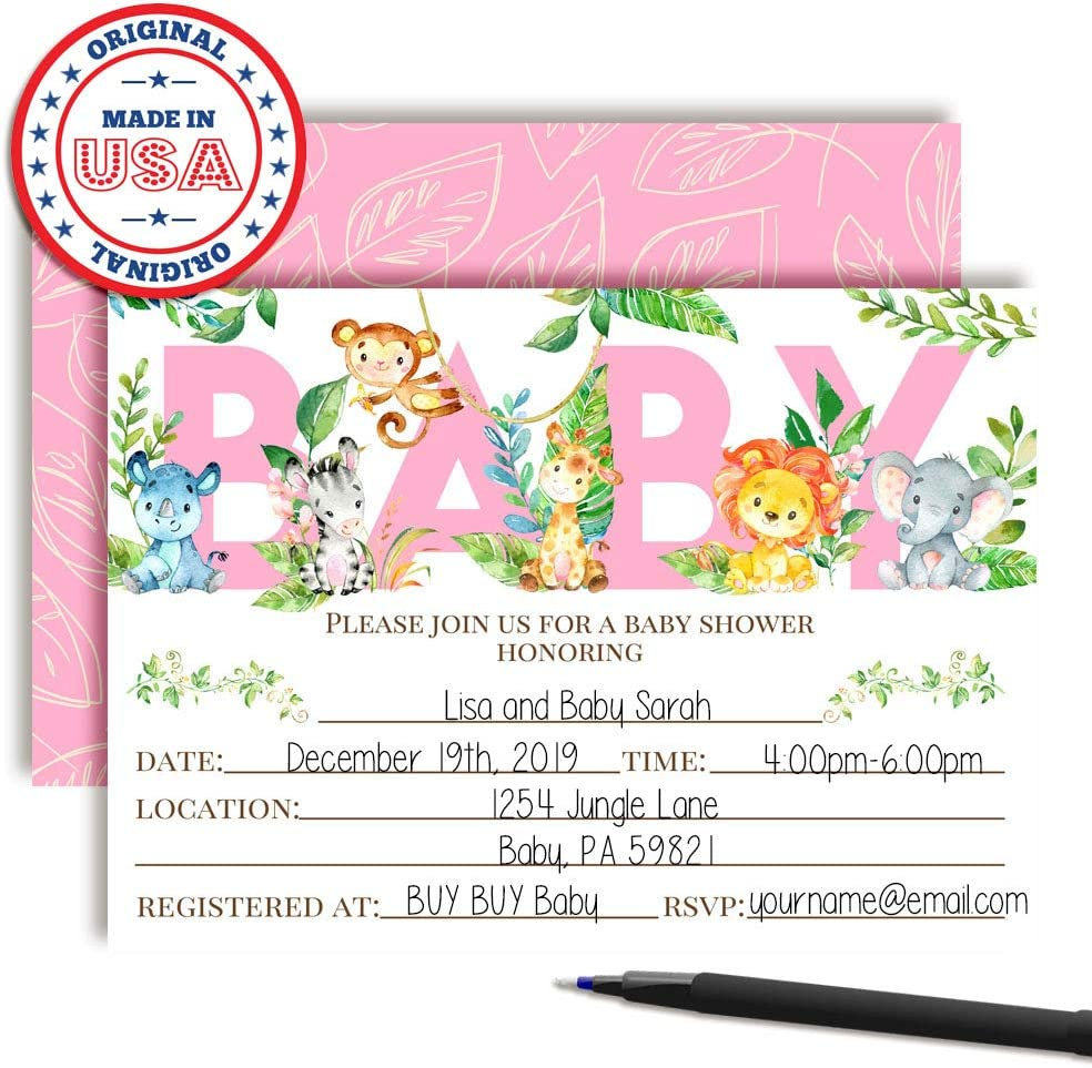 20 5x7 Fill in Cards with Twenty White Envelopes by AmandaCreation Watercolor Dahlia Floral Elephant-Themed Baby Boy Sprinkle Shower Invitations