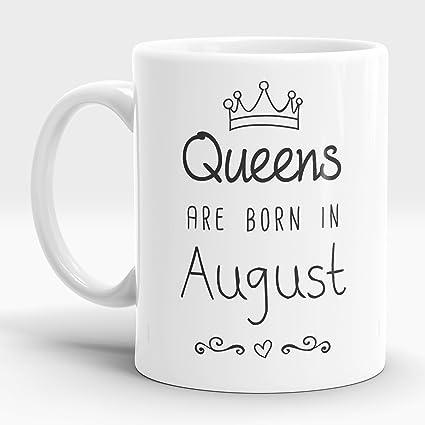 Buy LASTWAVE Queens Are Born In August Quote Ceramic Coffee Mug