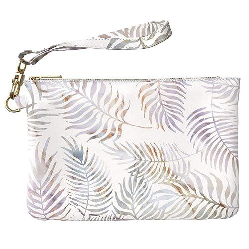 44e1f8b8bffa Amazon.com: Lex Altern Makeup Bag 9.5 x 6 inch Marble Palm Leaves ...