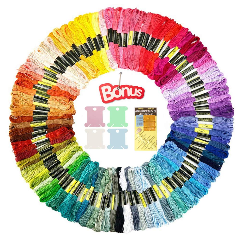 Premium Rainbow Color Embroidery Floss-Embroidery Thread-Cross Stitch Threads-Friendship Bracelets Floss-Crafts Floss-100 Skeins Per Pack-Free Embroidery Needles Set and 20 Pcs Colorful Floss Bobbins