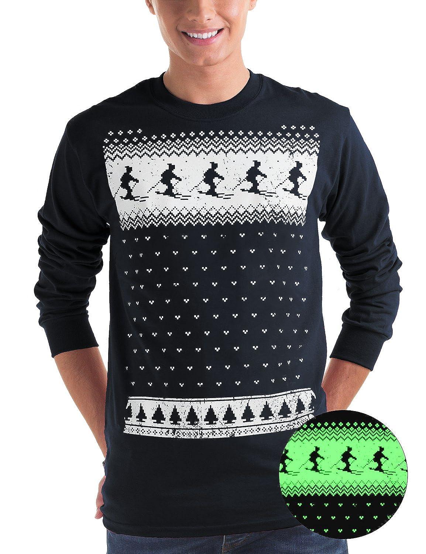 Leuchtet im Dunkeln Winter Ski Fair Isle langärmelige T-Shirt -Männer- Marineblau