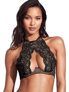 2ff347d35cbe0 Victoria s Secret Very Sexy Crochet Lace High-Neck Bra Silver Sea ...