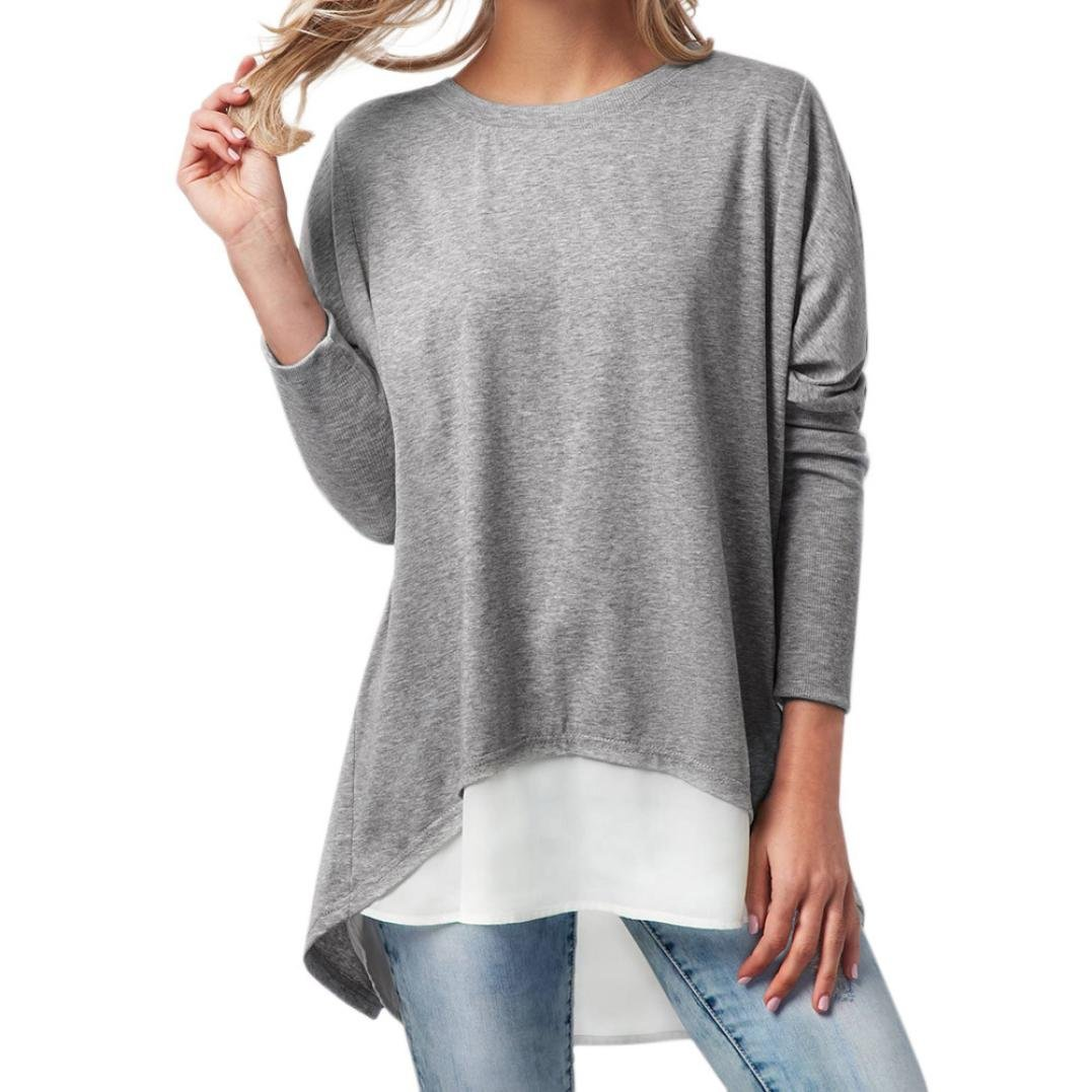 Dacawin 2PCS Fashion Women Long Sleeve Tops O-Neck Button Patchwork Long Sleeve Shirt