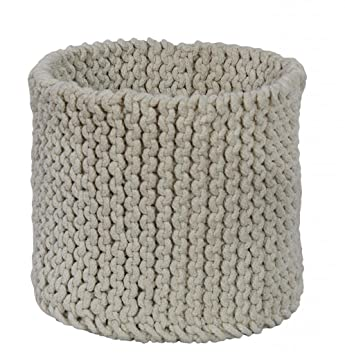 88b40ee33743 Homescapes Natural Knitted Storage Basket Round W42 x H37cm 100% Cotton  Fabric Basket Toys Basket