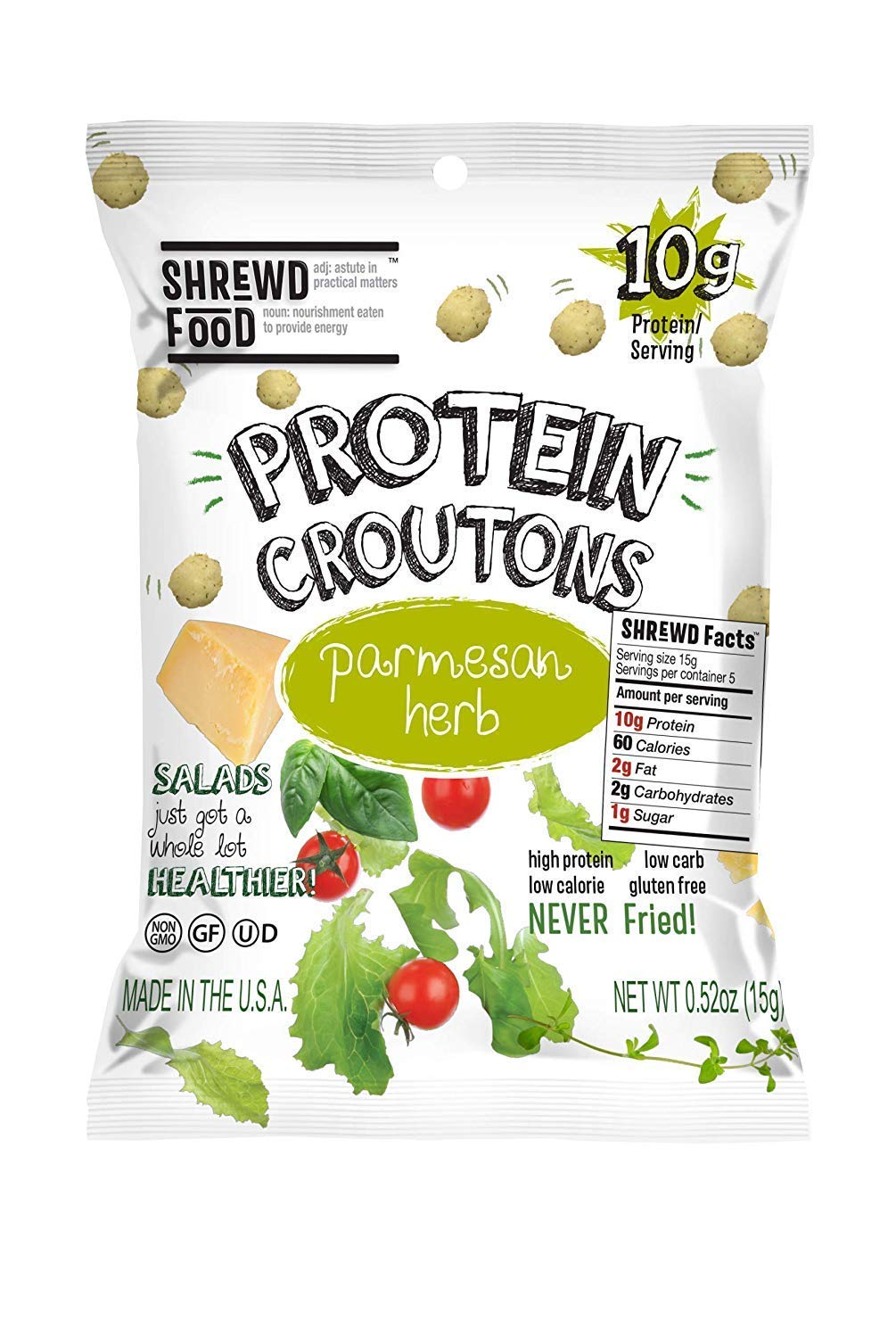 Shrewd Food Keto Croutons, Low Carb, High Protein Snacks, Real Cheese, Gluten Free Snacks, No Artificial Flavors, Peanut Free, 10g Protein per Pack, 2g Carbs, Parmesan Croutons, 10 Pack