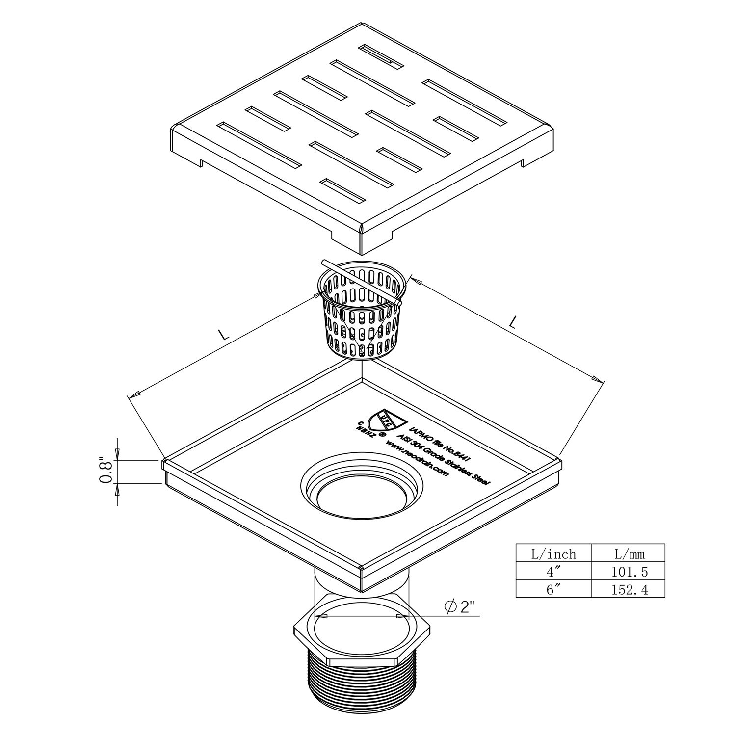 Neodrain Square Shower Drain with Removable Brick Pattern Grate, 4-Inch, Brushed 304 Stainless Steel, With WATERMARK&CUPC Certified, Includes Hair Strainer by Neodrain (Image #4)