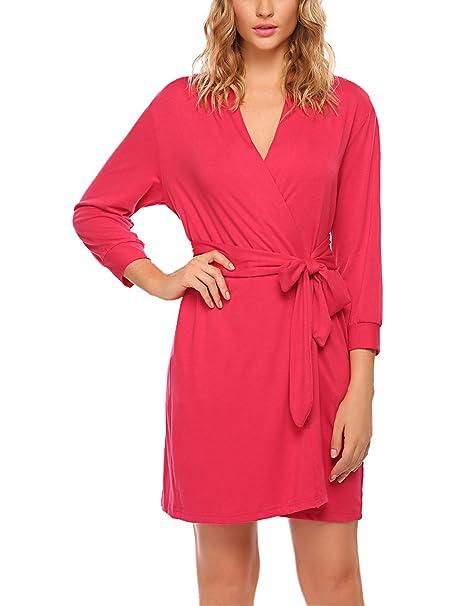 UNibelle Pijamas Mujeres Batas y Kimono Algodón Escote en V Camisón Corto Camisón Camisón S-XXL: Amazon.es: Ropa y accesorios