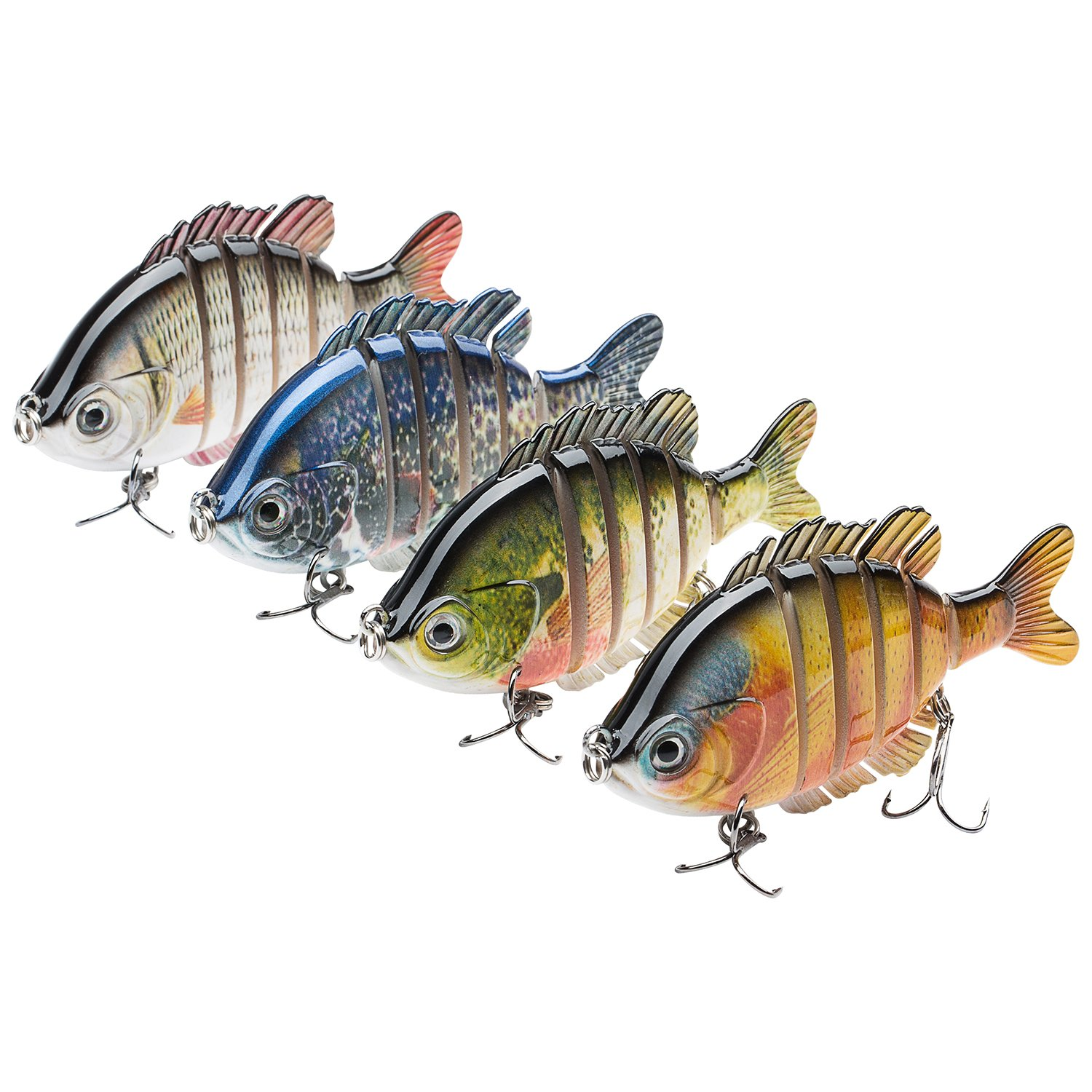 Bassdash SwimPanfish Multi Jointed Panfish Bluegill Swimbaits Topwater Hard Bass Fishing Crank Lure 3.5in/0.85oz, 4 Colors (Pack of 4 Colors) by Bassdash
