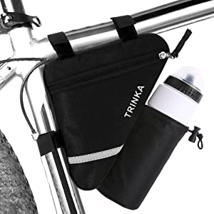 Bike Triangle Frame Bag,Road Mountain Cycling Strap Saddle Pouch Bag,Accessories Detachable Longer Version Saddle Frame Pouch Reflective Bike Storage Bag…