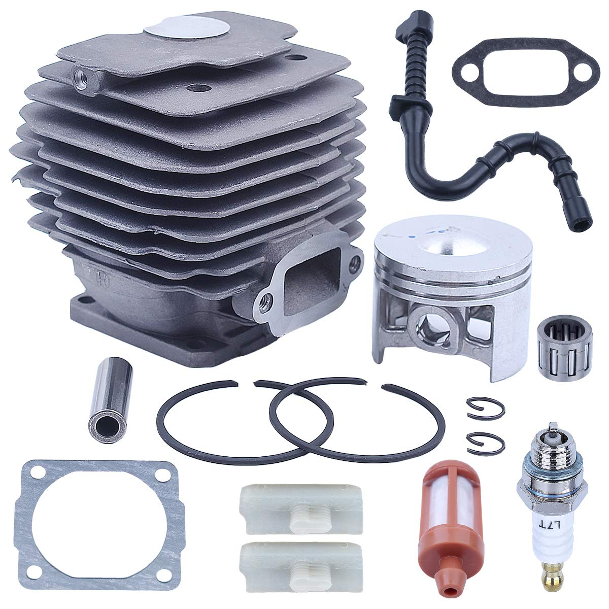 46mm Chainsaw Super AV WB Cylinder Piston Gasket Kit For Stihl 028 with Fuel Line Fuel Filter Spark Plug Cylinder Gasket Muffler Gasket Needle Bearing Bar Stripe Replacement parts for 1118 020 1203 by Adefol