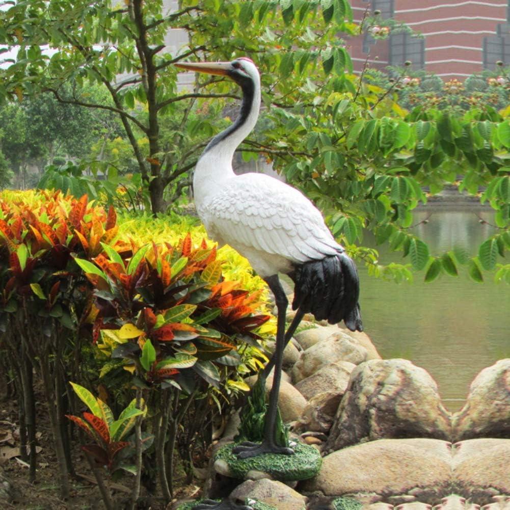 Yangyang Grulla de Corona Roja Jardín al Aire Libre Adornos Escultura Modelo de Pájaro Estatua de Resina para la Decoración del Hogar Colección, 31 * 18 * 70cm