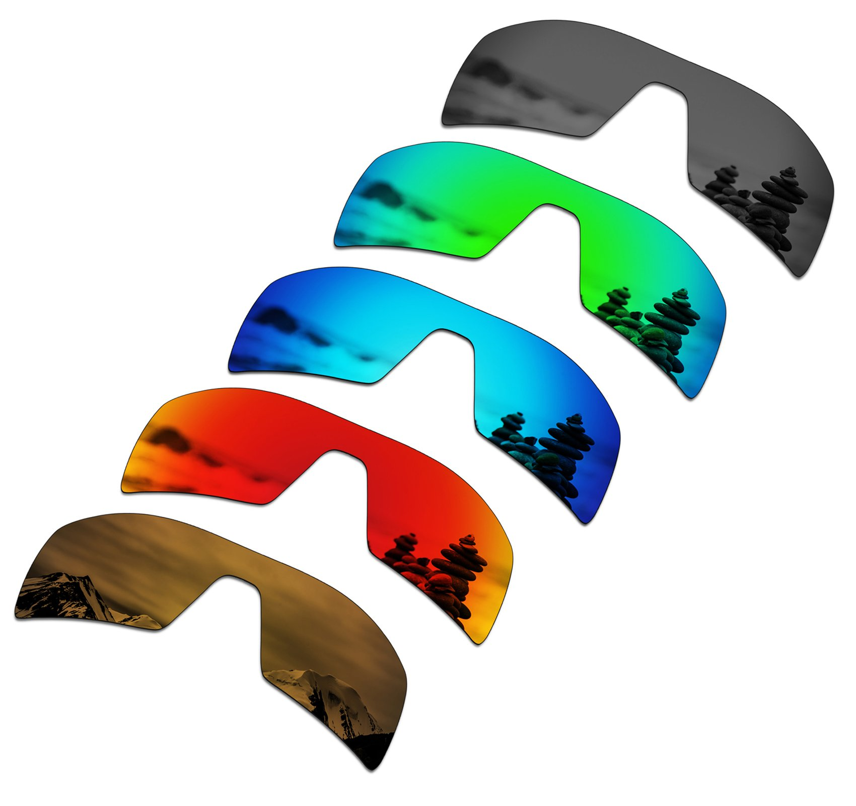 01e91598ad SmartVLT Set of 5 Men s Replacement Lenses for Oakley Oil Rig Sunglass  Combo Pack S02