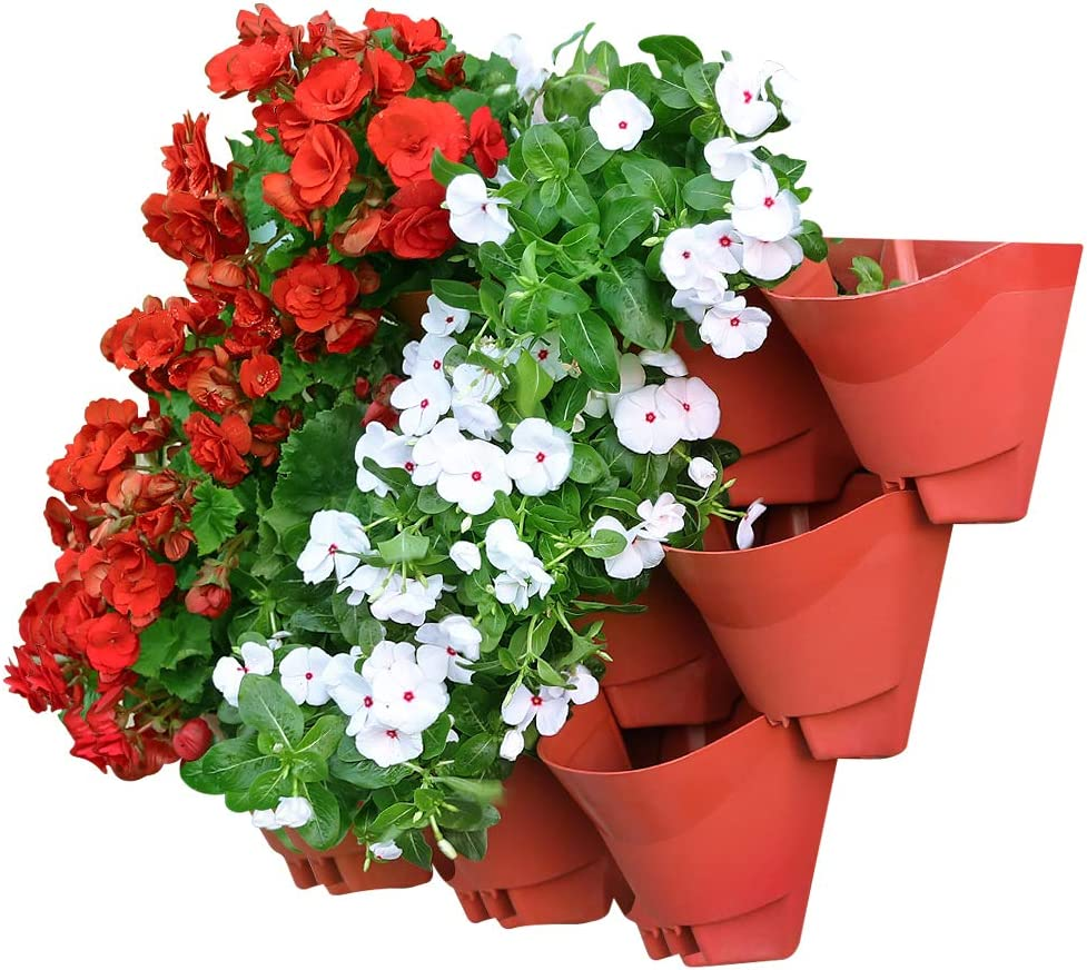 Worth Juego de 3 macetas Colgantes de Pared Vertical para jardín/hogar/Interior/Exterior/decoración de balcón/terraza, Rojo ladrillo