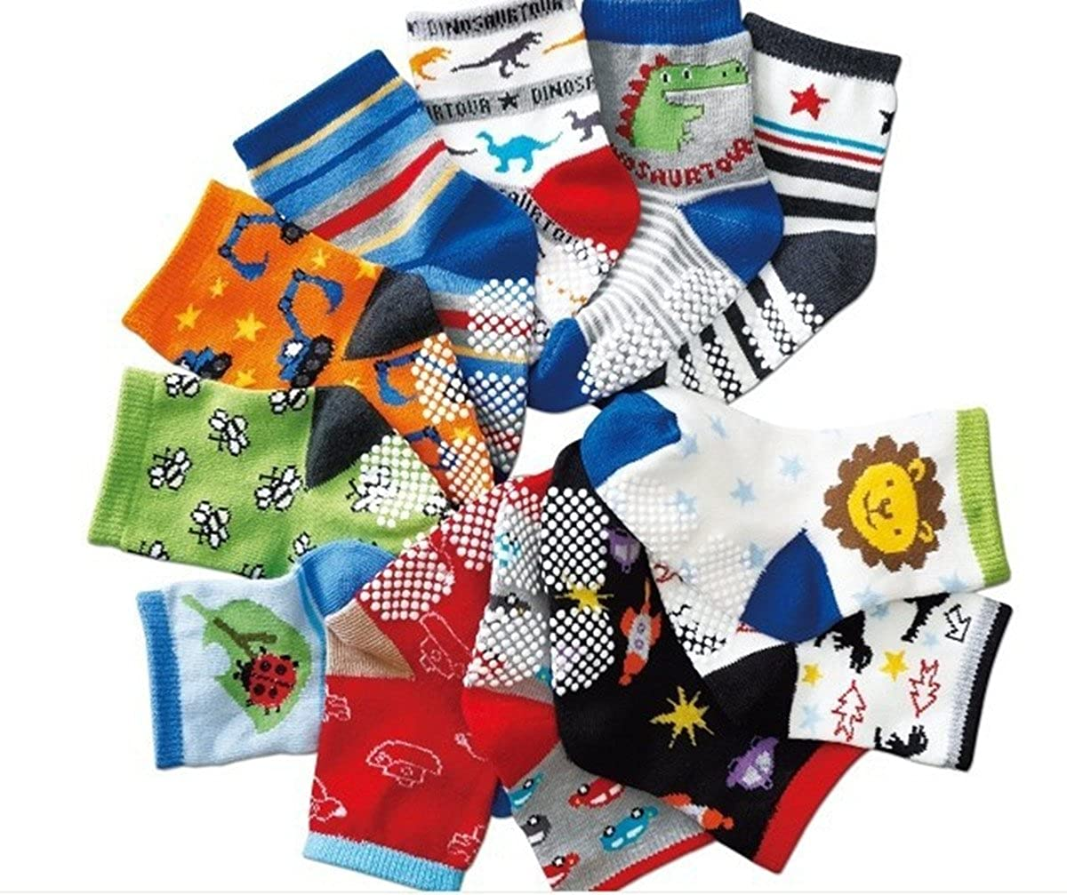 Animal Fun Cotton Non-Skid Baby Socks 12 Pairs