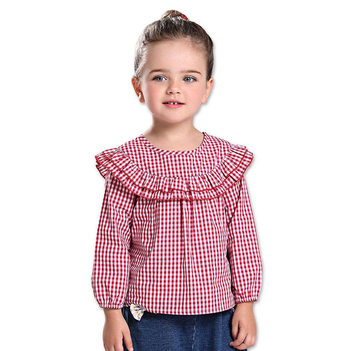 Freefly Toddler Girl Cute Long Sleeve Tops Plaid Ruffled Shirt Kids Blouses
