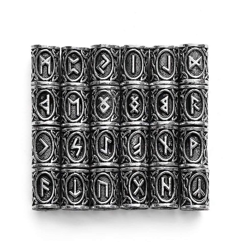 QZY 24 Piezas De Accesorios De La Barba Viking, 304 Perlas De Acero Inoxidable Runas para Los Hombres Collar Pulsera Colgante Joyas,Silver OOFAA
