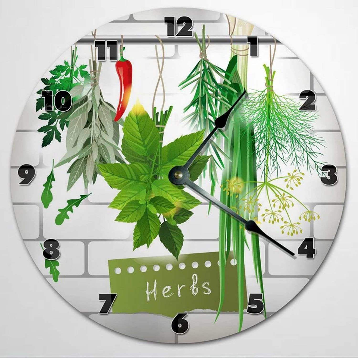 Herbs Spices Cooking Wooden Wall Clock Silent Non Ticking Kitchen Clock 12 Inch Battery Operated Round Easy to Read Food Clock for Home Office School