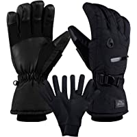 CAMYOD Waterproof Ski Snowboard Gloves with 3M Thinsulate,Zipper Pocket, Air Vent, Cold Weather Gloves for Men