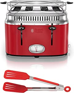 Russell Hobbs 4-Slice Stainless Steel Retro Style Toaster (Red) with 8-Inch Nylon Flipper Tongs Bundle (2 Items)