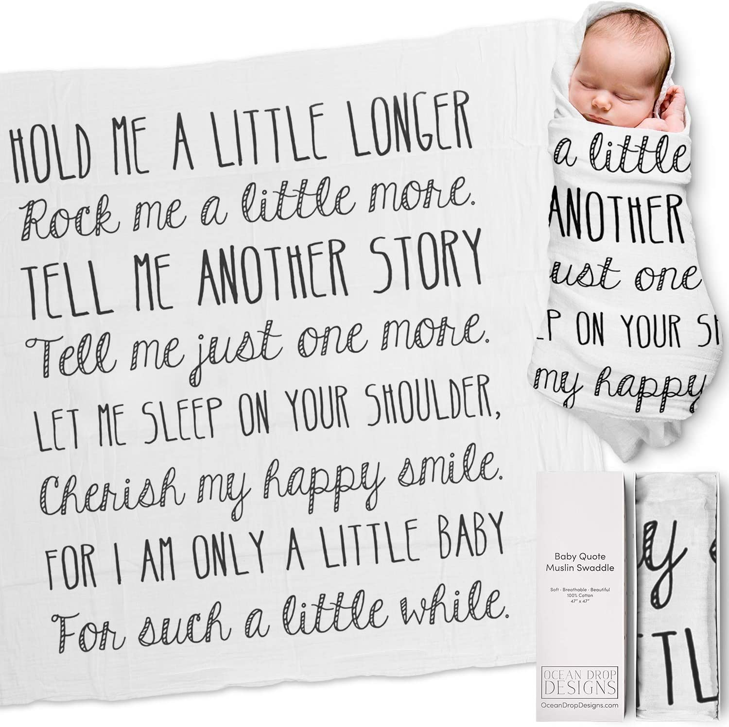 Ocean Drop Designs Muslin Swaddle Blanket withHold Me A Little Longer Quote Goddaughter and Godson Gifts Christening Gift for Girls and Boys Baptism Gift for Boys and Baby Girls Newborn Swaddle