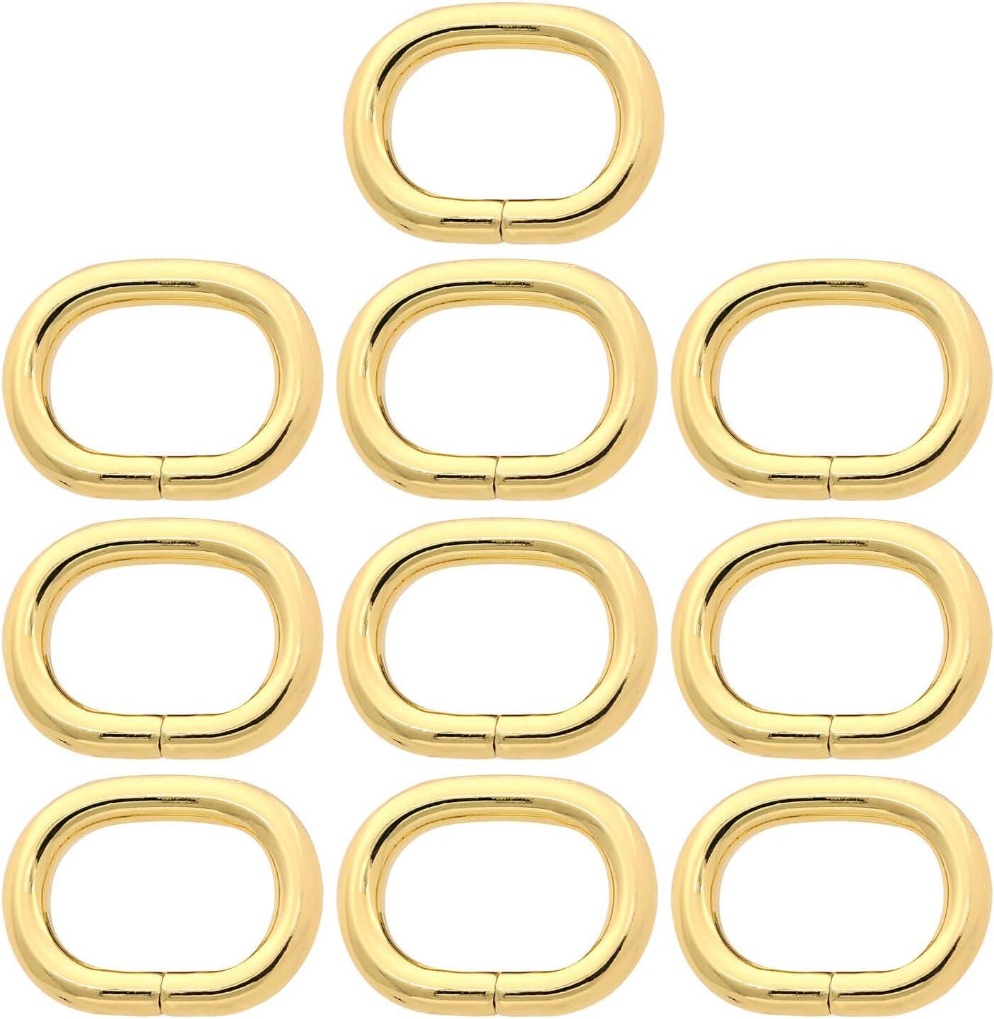 no soldado para bolsas de piel Anillo ovalado de metal de 3,8 cm correas de bolso BIKICOCO color dorado 10 unidades doradas.