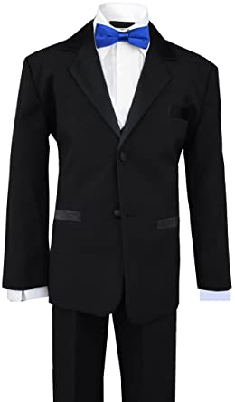9617e6212db5e Boys Tuxedos in Black with Royal Blue Bow Tie and Black Bow Tie (Small (