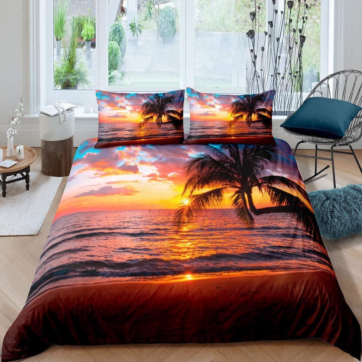 Feelyou Women Ocean Beach Duvet Cover for Kids Adults Girls Chic Sea Sunset Scenery Comforter Cover Tropical Palm Tree Bedding Set Hawaiian Holiday Bedspread Cover Room Decor Queen Size Bedclothes