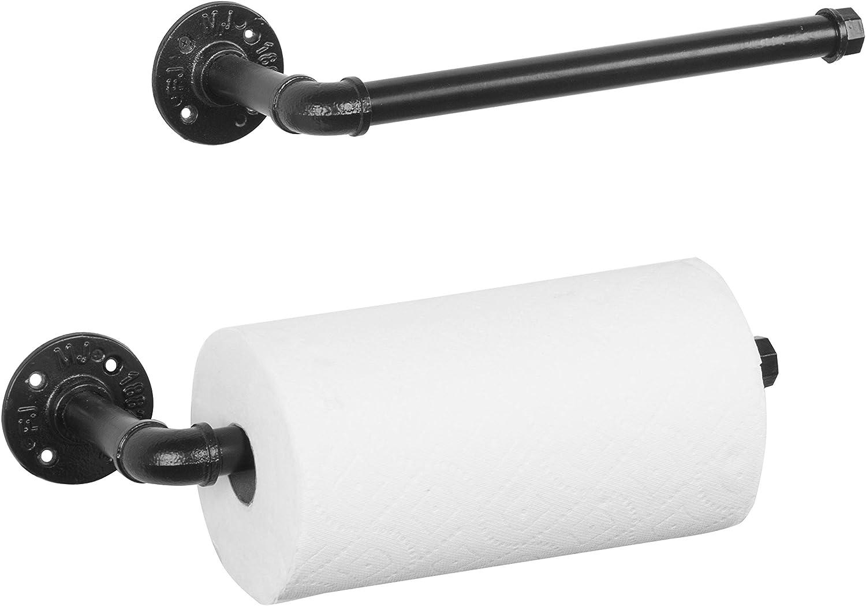 Wall-Mounted Paper Towel Holder Tissue Paper Roll Holder Towel Dispenser Black