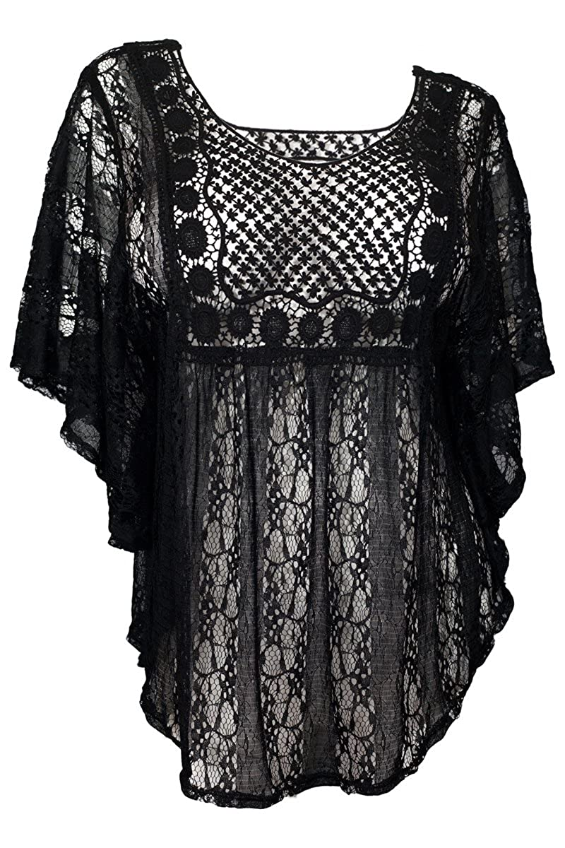 5406e437602b9 eVogues Plus Size Sheer Crochet Lace Poncho Top Made in USA at Amazon  Women's Clothing store: Fashion T Shirts