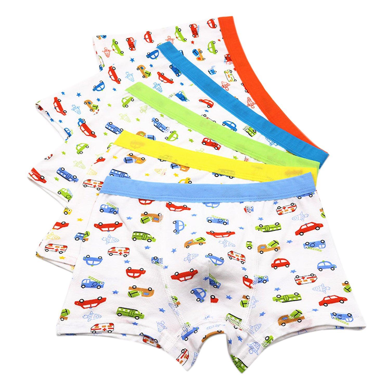 CHIC-CHIC Boxer Slip Lot de 5 Garçon Bébé Enfant Culotte Pantalon Sous-Vêtement en Coton Motif Mignon Voiture