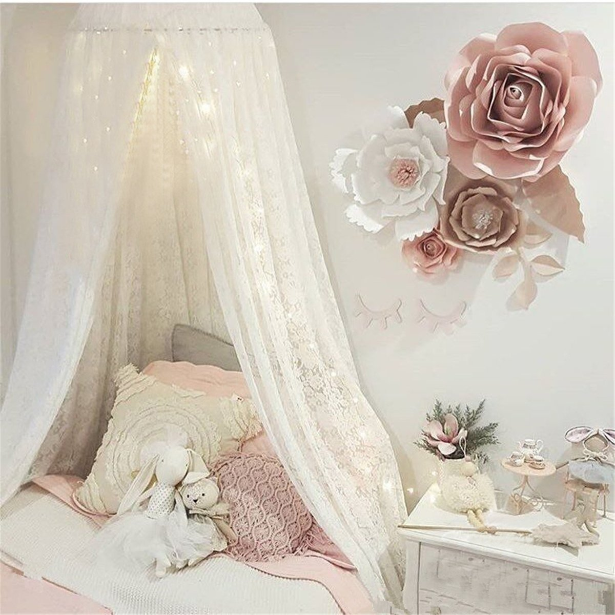 Princess Bed Canopy Lace Mosquito Net for Kids Baby , Round Dome Kids Indoor Outdoor Castle Play Tent Hanging House Decoration Reading Nook Cotton Canvas Height 270cm/107 inch (White)