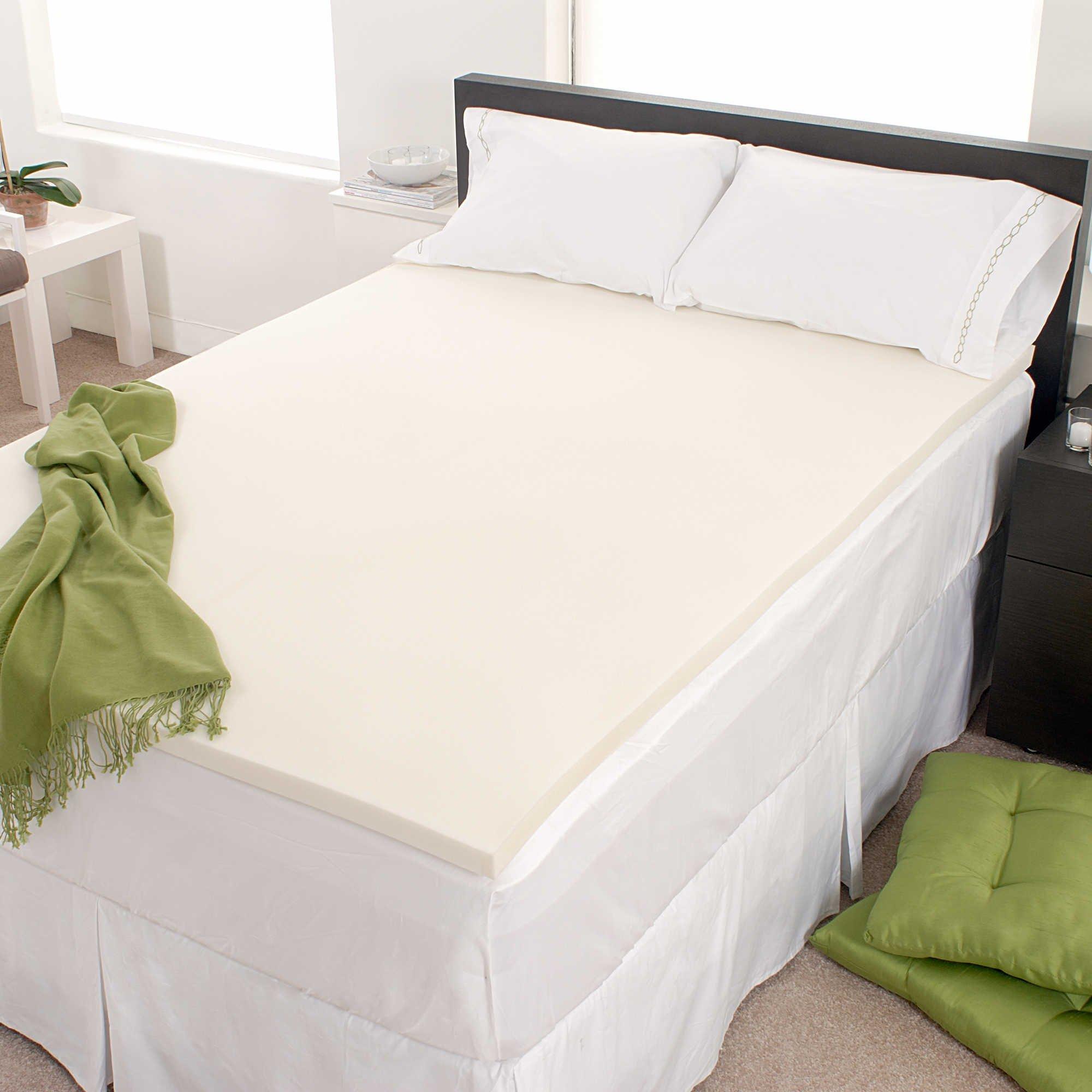 FoamRush 1'' Thick King Size Memory Foam Pad Mattress Topper Made in USA